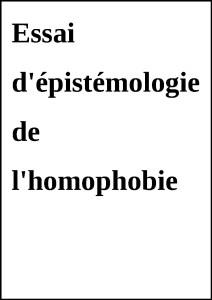 EpistemologieHomophobie